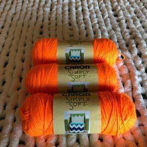 Caron Other - Simply Soft Neon Orange Yarn Lot